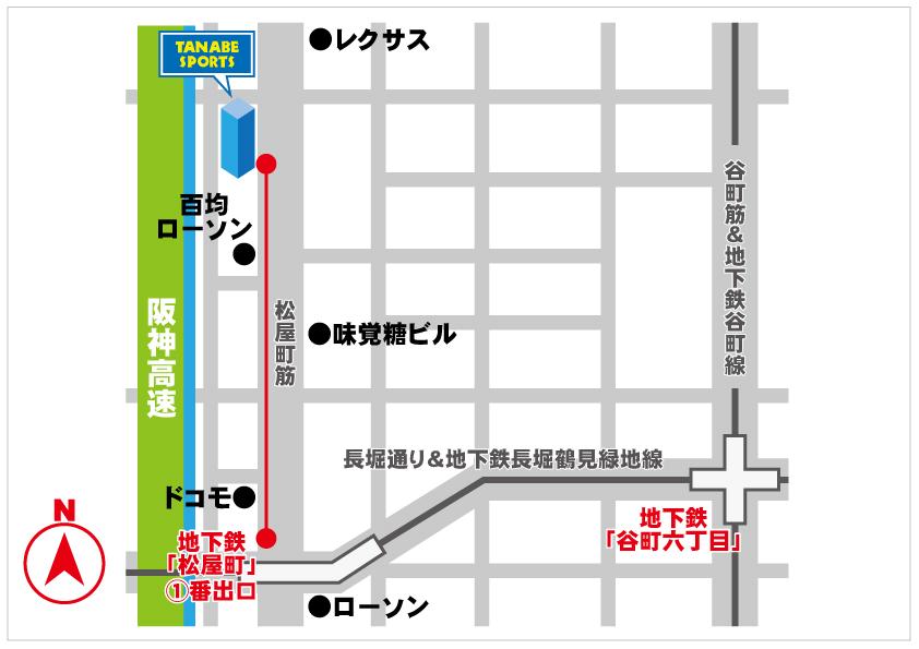 地下鉄松屋町からの地図