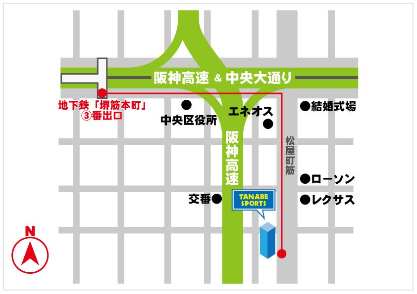 地下鉄堺筋本町からの地図
