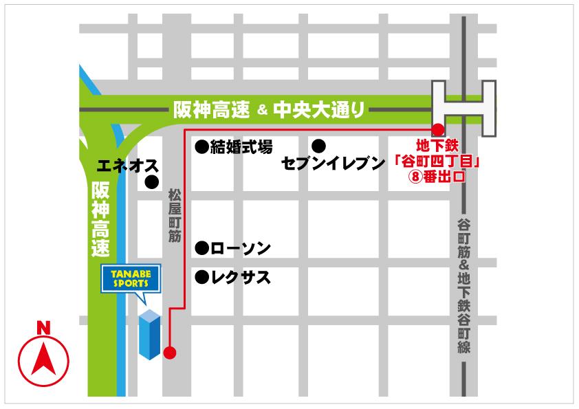 地下鉄谷町四丁目からの地図