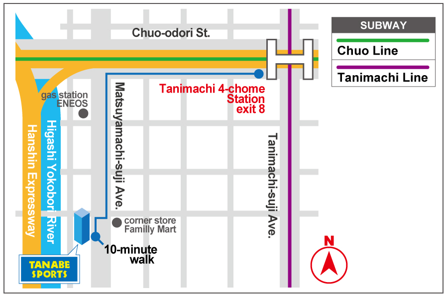 Route from Tanimachi 4-chome Station