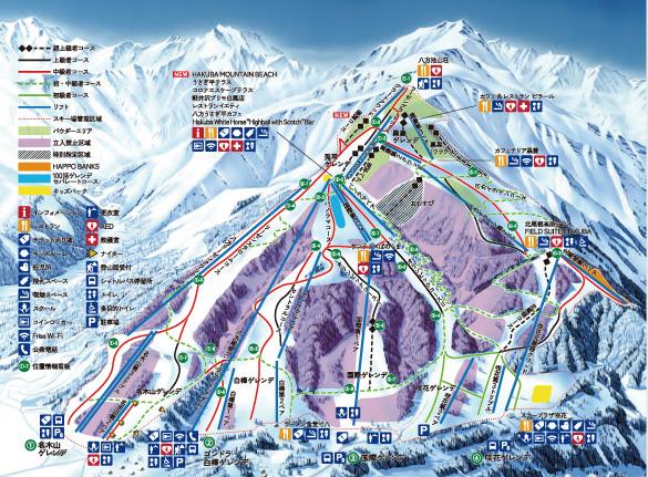 白馬八方尾根スキー場 ゲレンデマップ
